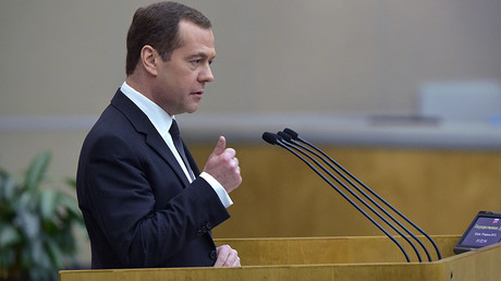 Prime Minister Dmitry Medvedev at the State Duma © Vladimir Fedorenko