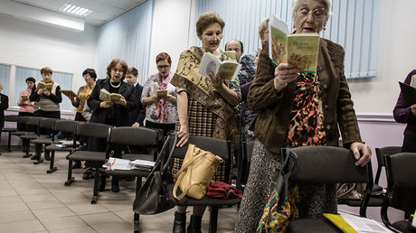 Jehovah's witnesses sing songs during the meeting in Rostov-on-Don © Getty Images
