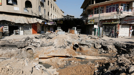 FILE PHOTO: A crater made by an airstrike against Islamic State militants, Mosul, Iraq. © Ahmed Saad