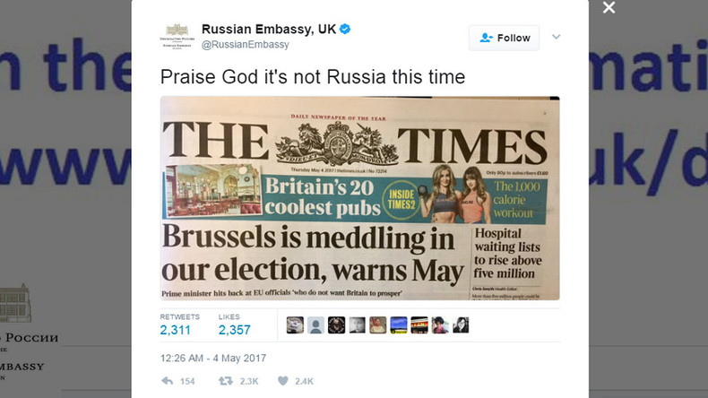 'Praise God it's not Russia this time!' Embassy trolls May over Brussels election meddling claim