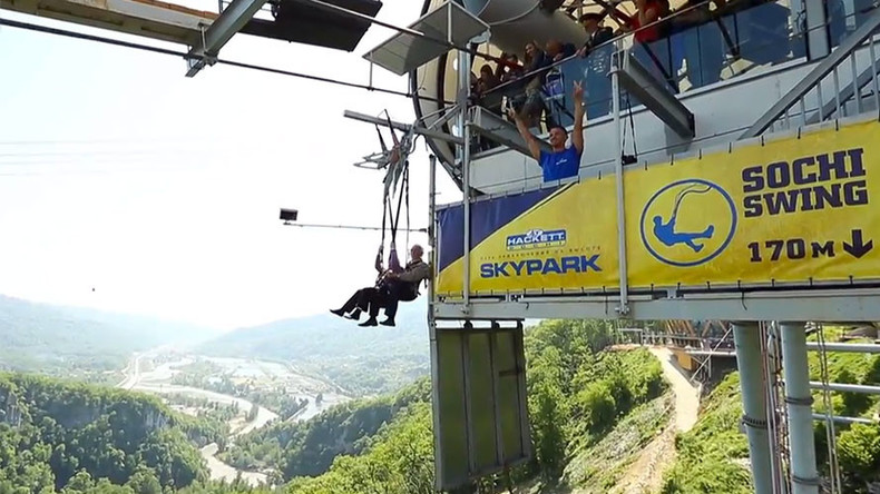 WWII veterans mark V-Day riding world's biggest swing in Sochi (VIDEO)