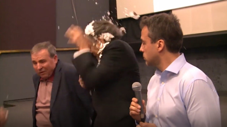 French philosopher Bernard-Henri Levy pied in the face for 9th time (VIDEO)