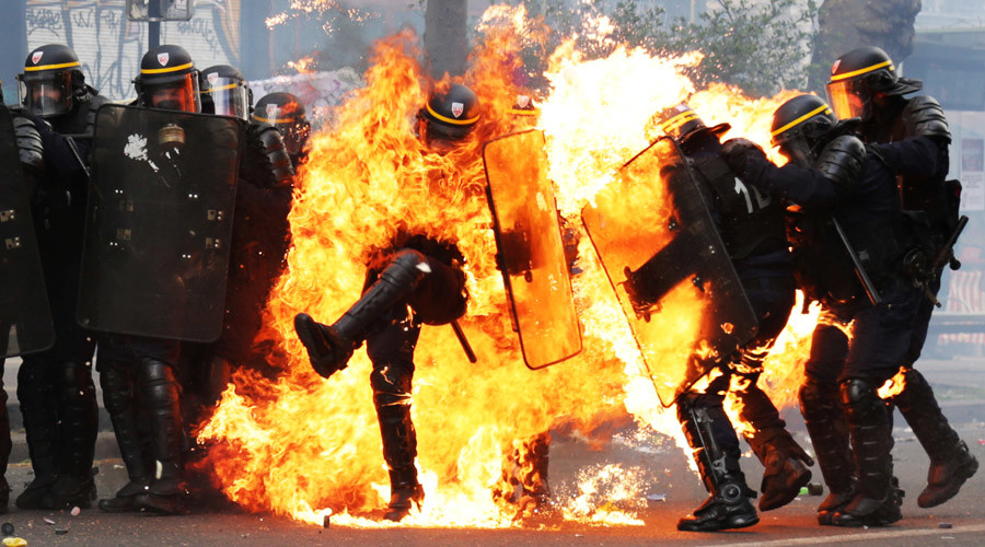 Image result for France riots: Protestor's hand BLOWN OFF by grenade in clashes with police