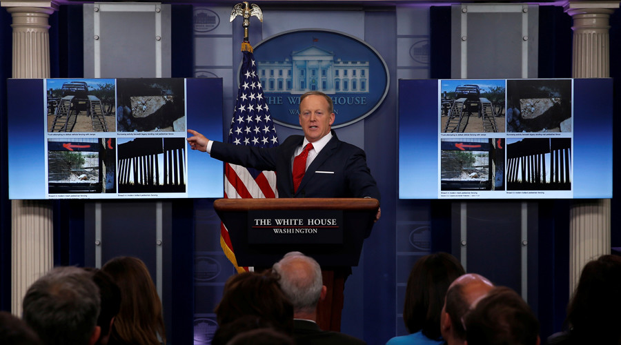 'That's the wall Trump promised?' Spicer & Breitbart journalist clash over Mexican border barrier