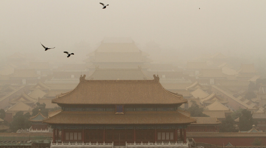 Sandstorm leaves Beijing with yellow skies & 'beyond index' pollution (PHOTOS)