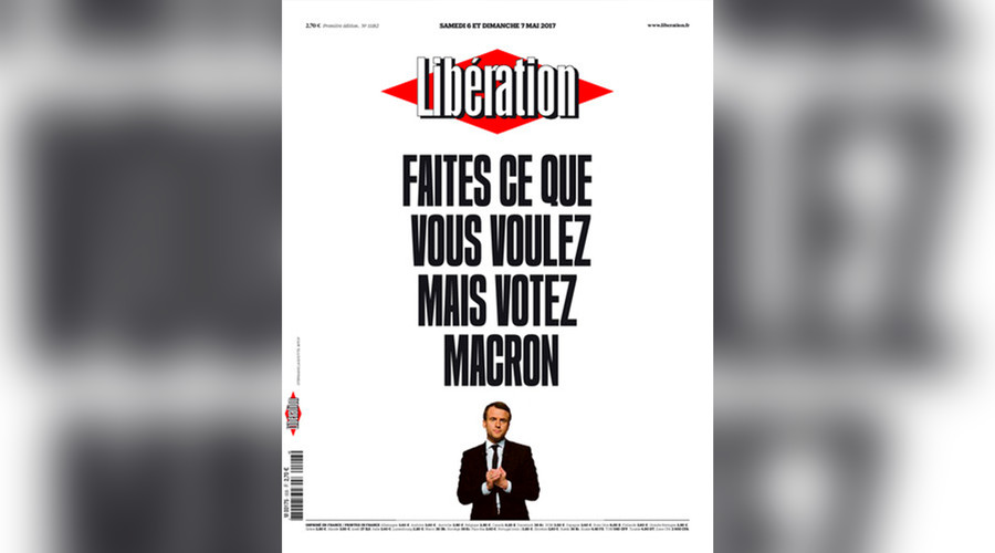 'Propaganda machine': Twitter blasts Liberation newspaper's pro-Macron cover on eve of vote