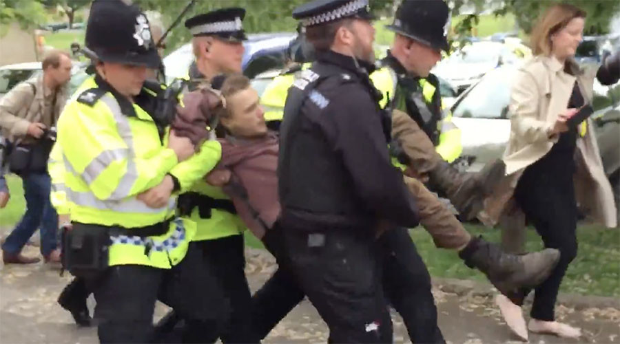 Fox hunting protester arrested after shouting 'kill May' at campaigning PM (VIDEO)