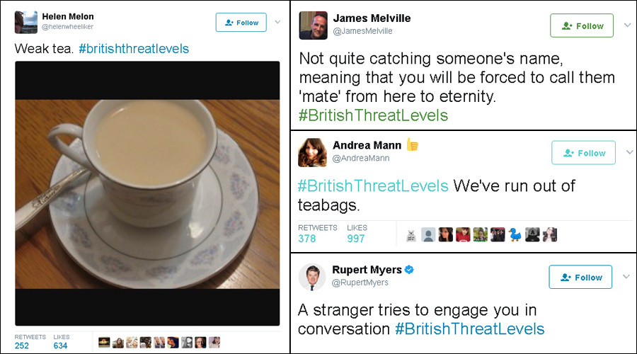 #BritishThreatLevels: Brits respond with humor to rise in official terrorism warning