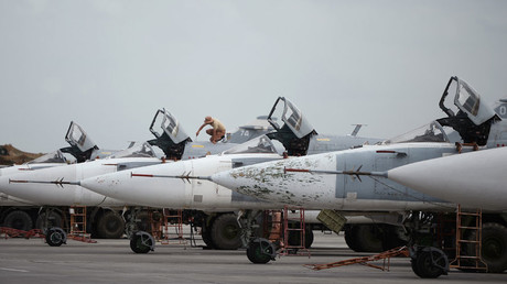 Russian Sukhoi Su-24 planes at the Khmeimim airbase in Syria © Maksim Blinov