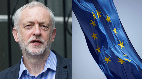 Jeremy Corbyn (L), EU flag © Global Look Press / Reuters