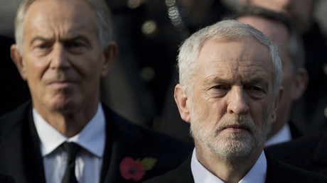Former British prime minister Tony Blair and Britain's opposition Labour Party Leader Jeremy Corbyn © Justin Tallis