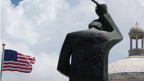The statue of St. John outside the Capitol building in San Juan, Puerto Rico © Alvin Baez