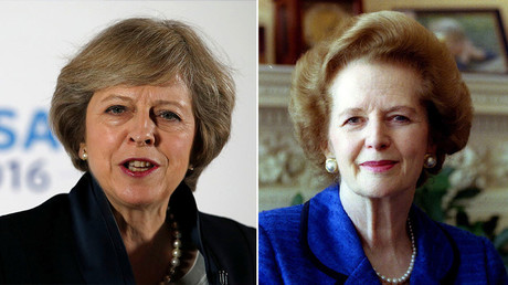 Britain's Prime Minister Theresa May (L) and Former Prime Minister Margaret Thatcher © Reuters