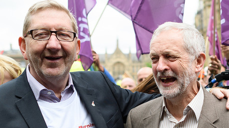 British oppostion Labour Party leader Jeremy Corbyn (R) and Unite union General Secretary Len McCluskey © AFP