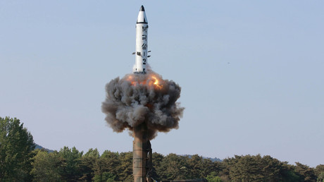 The scene of the intermediate-range ballistic missile Pukguksong-2's launch test © KCNA