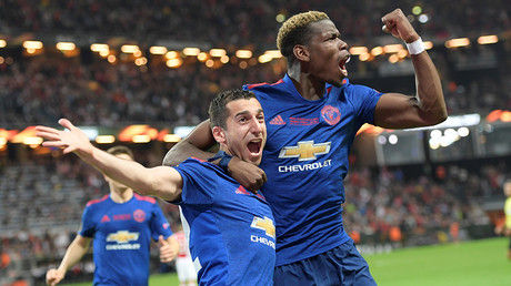 Henrikh Mkhitaryan (L) of Manchester United celebrates a goal with teammate Paul Pogba © Anders Wiklund