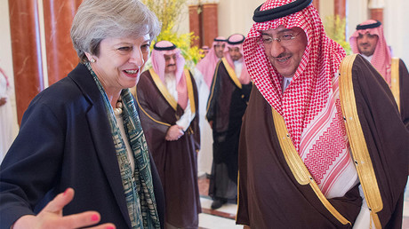 Saudi Arabian Crown Prince Muhammad bin Nayef welcomes British Prime Minister Theresa May, April 4, 2017. © Bandar Algaloud