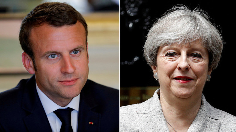 Tale of two leaders: victorious Macron meets enfeebled May