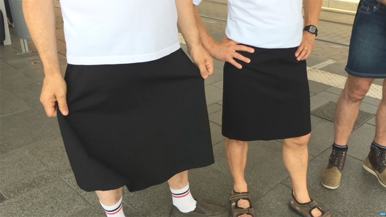 Sun's out, gams out? Men wear skirts to protest ban on shorts during heatwave (PHOTOS)