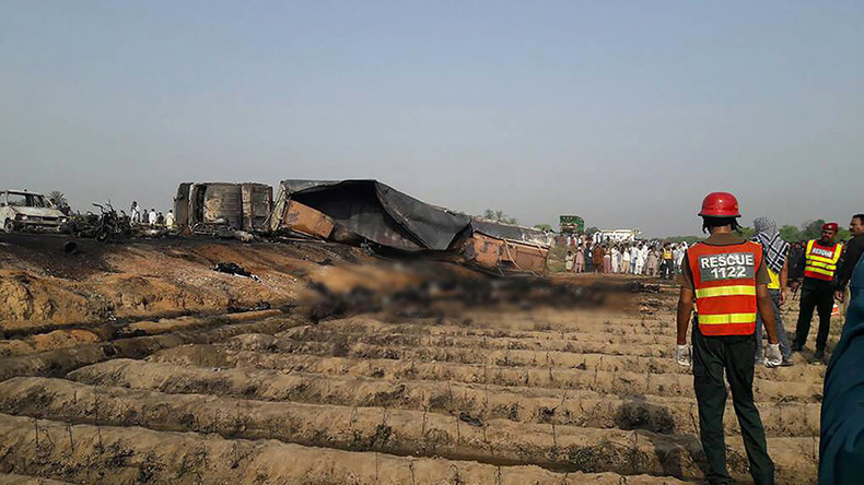 150+ people burn to death after oil tanker flips & explodes in Pakistan (GRAPHIC)
