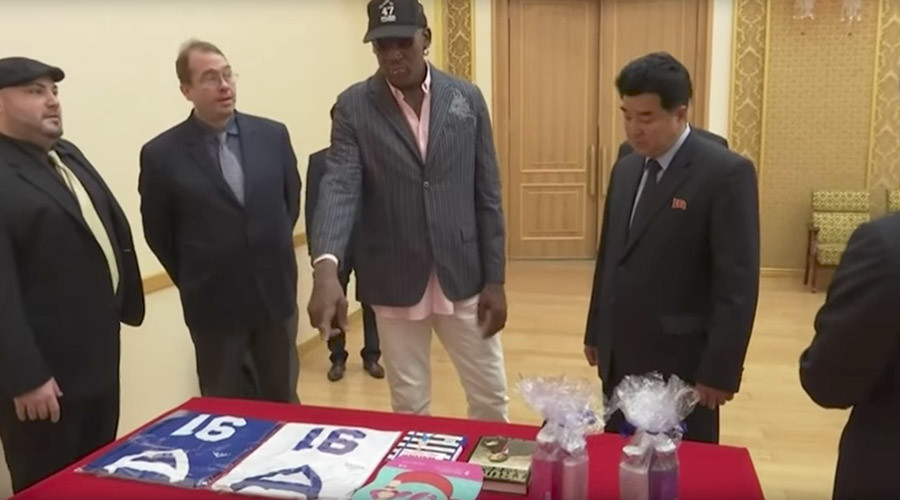 'Old friend' Rodman presents copy of Trump's 'Art of Deal' during N. Korea visit