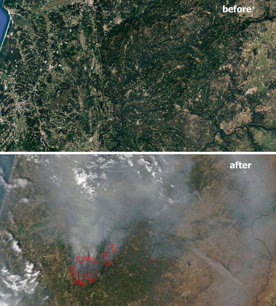 Satellite Images Show Devastating Extent Of Portugal Forest Fire - Portugal map satellite