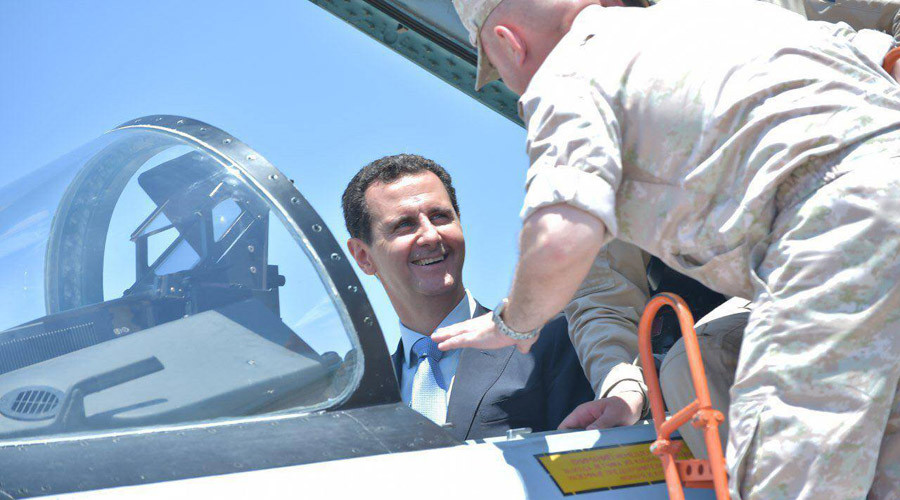Syria's Assad tries out role of Su-35 fighter jet pilot at Russia's Khmeymim airbase (PHOTOS, VIDEO)