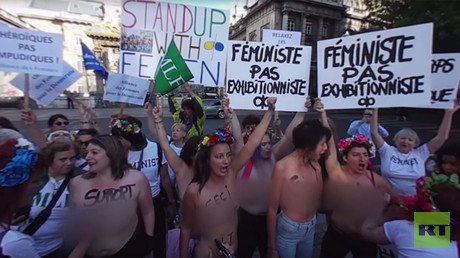 'Sliced Kurds': Topless FEMEN activists serve Erdogan a 'cannibal lunch' (VIDEO, PHOTOS)