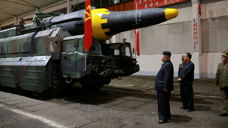 North Korean leader Kim Jong Un inspects the long-range strategic ballistic rocket Hwasong-12 © Reuters
