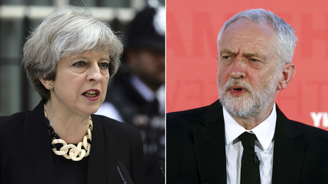 Britain's Prime Minister Theresa May (L), Jeremy Corbyn, the leader of Britain's opposition Labour Party (R). © Reuters
