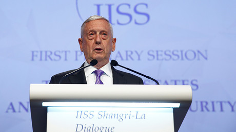 US Secretary of Defense James Mattis speaks at the 16th IISS Shangri-La Dialogue in Singapore June 3, 2017 © Edgar Su