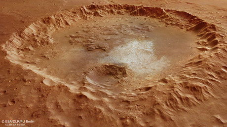 The crater in the Margaritifer Terra region of Mars's southern hemisphere © ESA
