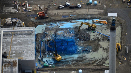 Aerial photo of demolition at the Plutonium Finishing Plant © Hanford Site