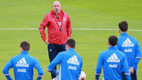 Russian national football team head coach Stanislav Cherchesov at a training session before a friendly match between Russia and Chile. © Anton Denisov
