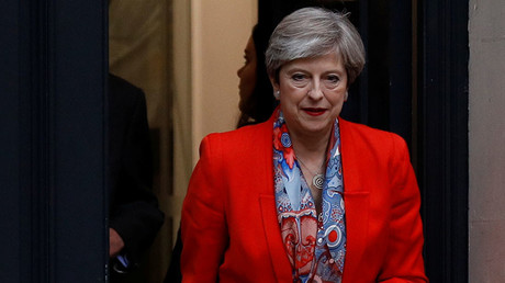 Britain's Prime Minister May leaves the Conservative Party's Headquarters after Britain's election in London. ©Peter Nicholls