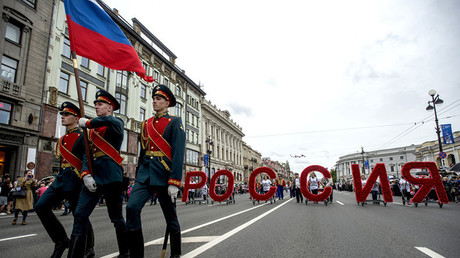 A parade on Nevsky Prospect in St. Petersburg during Russia Day festivities. © Aleksandr Galperin