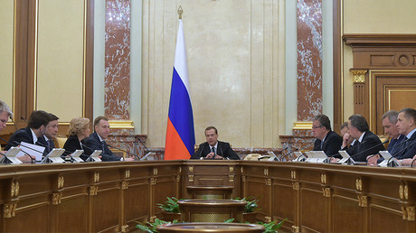 Russian Prime Minister Dmitry Medvedev chairs a Government meeting.
