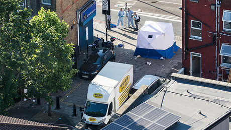 A view of the van believed to have been used in the attack on pedestrians, Finsbury Park area June 19, 2017. © Joel Goodman / Global Look Press