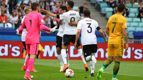 Germany's Lars Stindl celebrates scoring their first goal. © Kai Pfaffenbach