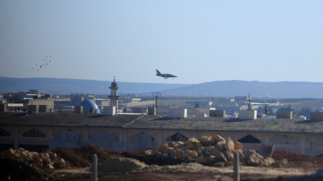 A warplane lands in Aleppo, Syria  © Ali Hashisho