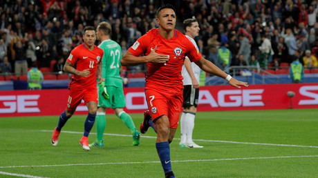 Chile's Alexis Sanchez celebrates scoring their first goal © Maxim Shemetov