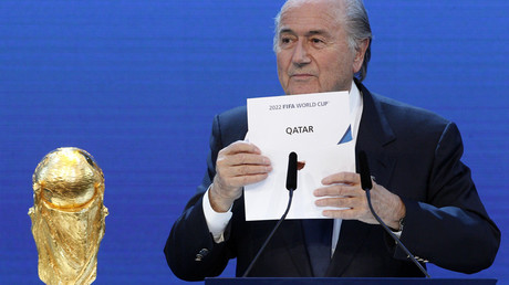 FILE PHOTO FIFA President Sepp Blatter announces Qatar as the host nation for the FIFA World Cup 2022, in Zurich December 2, 2010.  © Christian Hartmann