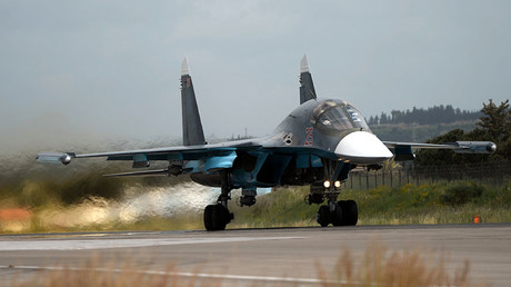 FILE PHOTO. A Russian Su-30 fighter aircraft takes off from the Hmeimim airbase in Syria. ©Maksim Blinov