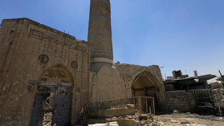 A destroyed mosque is seen in the Old City of Mosul, Iraq, June 27, 2017 © Alaa Al-Marjani