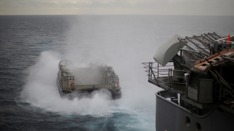 A landing craft launches from the USS Bonhomme Richard amphibious assault ship during Talisman Saber 2017 drills off the coast of Sydney © Jason Reed