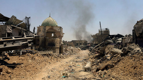 Ruins of the Grand al-Nuri Mosque in the Old City of Mosul, Iraq after it was liberated from Islamic State militants; June 30, 2017 © Alaa Al-Marjani