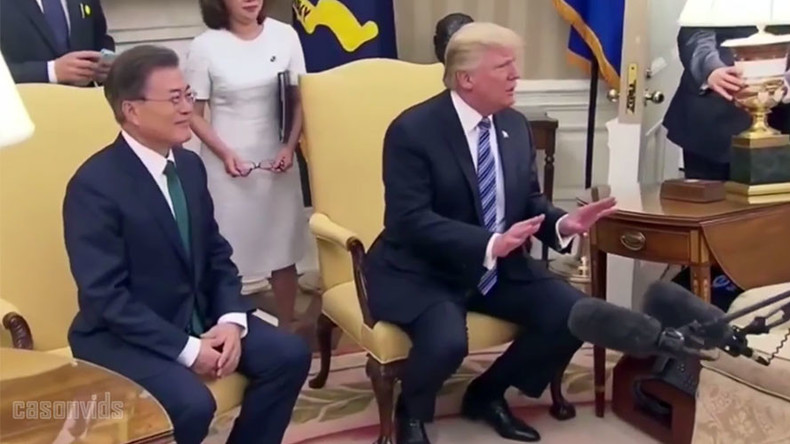 'You guys are getting worse': Trump almost hit by lamp in chaotic photo op (VIDEO)
