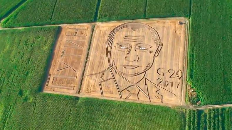 135 meter Vladimir Putin portrait ploughed into Italian cornfield (VIDEO)