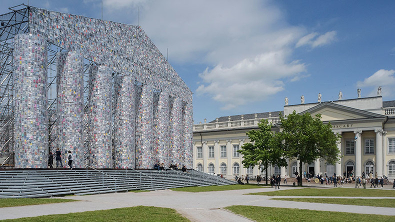 Artist recreates Parthenon at Nazi book-burning site with 100,000 banned titles (PHOTOS)