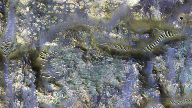 Martian technicolor worms? NASA reveals incredible snap of Mars crater